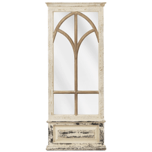Distressed Ivory Window Pane Wall Mirror