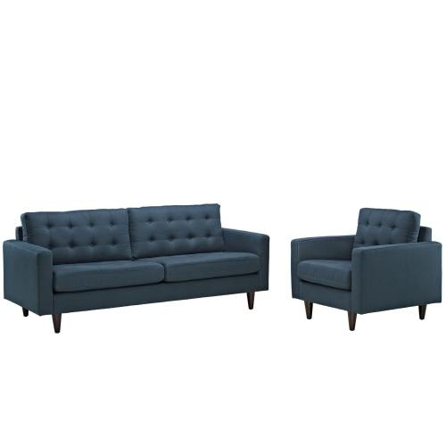 Empress Armchair and Sofa Set of 2 in Azure