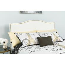 See Details - Lexington Upholstered Queen Size Headboard with Accent Nail Trim in White Fabric