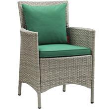 Conduit Outdoor Patio Wicker Rattan Dining Armchair in Light Gray Green