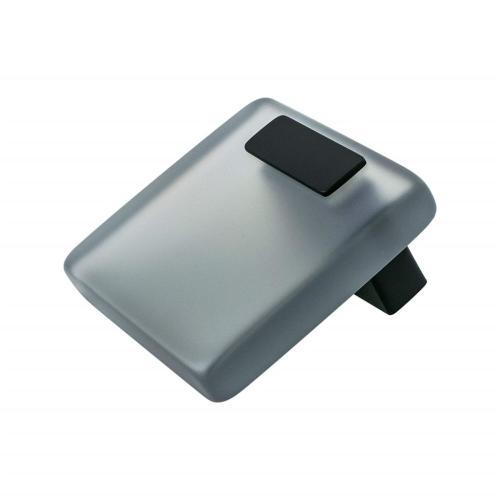 Quad 16mm Grey Acrylic and Matte Black Knob