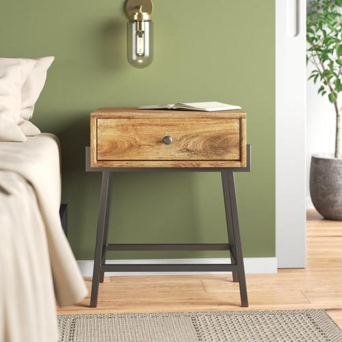 Accentrics Home - One Drawer Iron Base Side Table