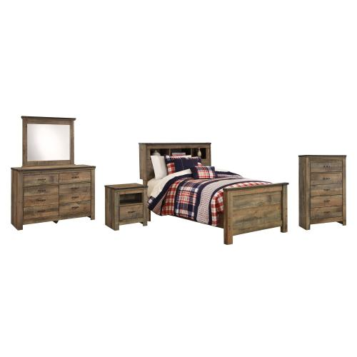 Ashley - Twin Bookcase Bed With Mirrored Dresser and Chest