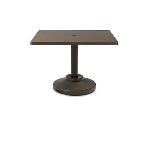 "Telescope Casual Furniture - Aluminum Slat Top Table 36"" Square Dining Height 80 lb Pedestal Table w/ hole"