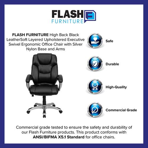 Gallery - High Back Black LeatherSoft Layered Upholstered Executive Swivel Ergonomic Office Chair with Silver Nylon Base and Arms