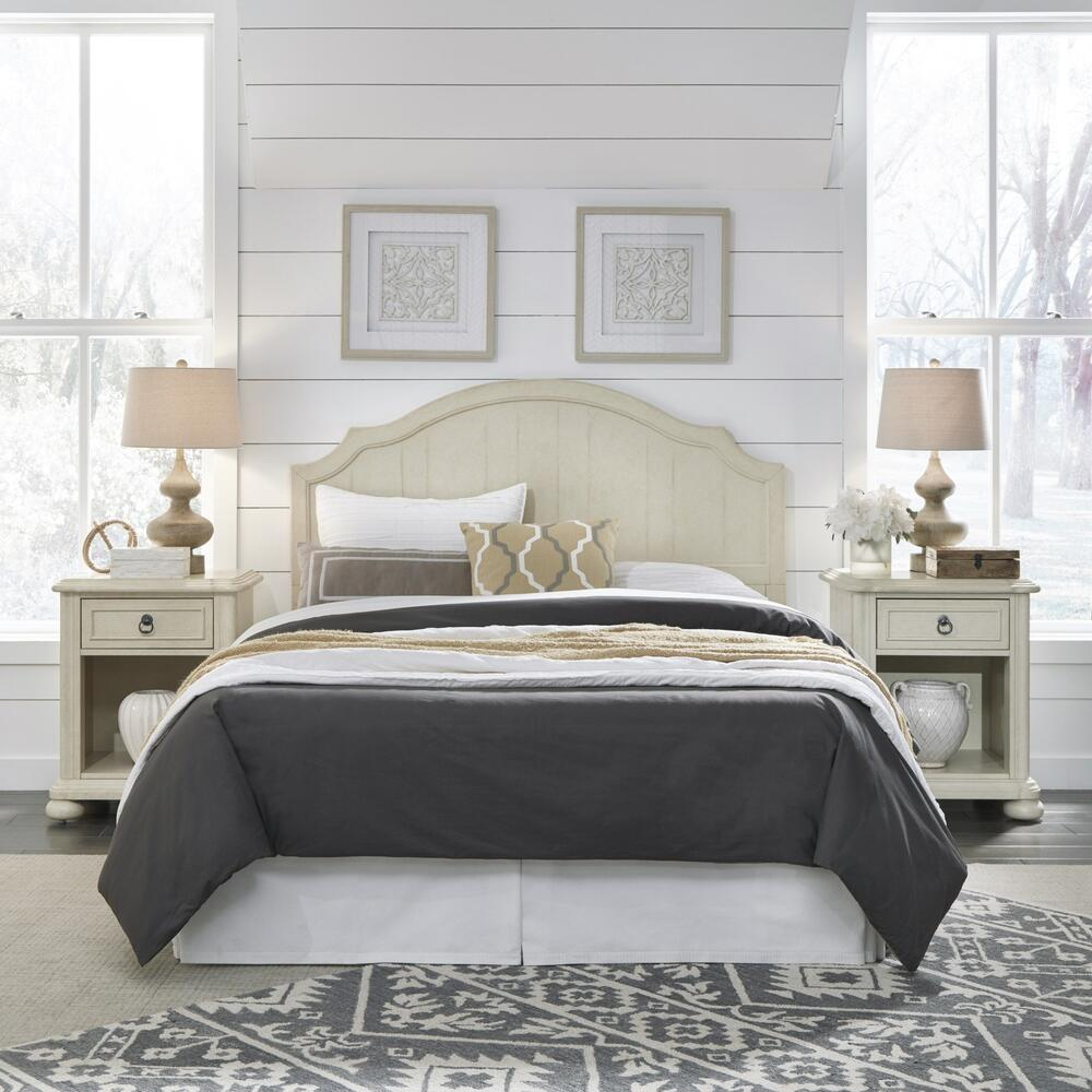 Chambre Queen Headboard and Two Nightstands