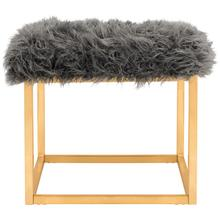 See Details - Rowan Contemporary Glam Faux Sheepkin Square Ottoman - Grey