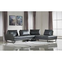 Divani Casa Bowery Modern Grey Leatherette Sectional Sofa