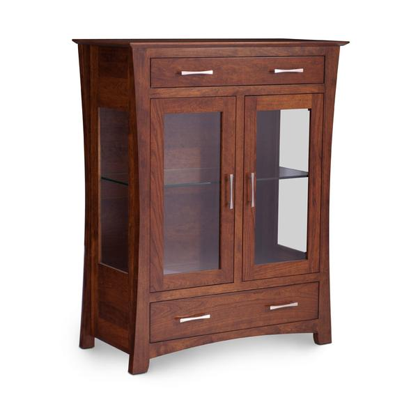 Loft 2-Door Dining Cabinet, 2 Doors with Plain Glass Doors and Ends