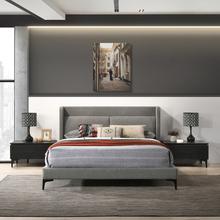See Details - Legend 3 Piece Gray Fabric Queen Platform Bed and Nightstands Bedroom Set
