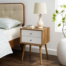 Ember Wood Nightstand With USB Ports in Natural White