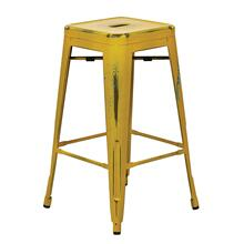 """See Details - Bristow 26"""" Antique Metal Barstool, Antique Yellow With Blue Specks Finish, 4 Pack"""