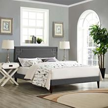 View Product - Ruthie King Fabric Platform Bed with Squared Tapered Legs in Gray