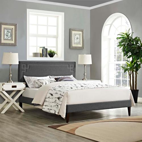 Modway - Ruthie King Fabric Platform Bed with Squared Tapered Legs in Gray