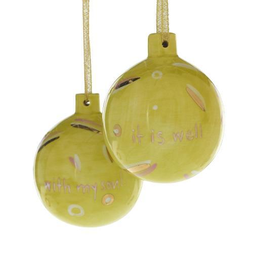 "4"" Green Christmas Spirit Ornament"