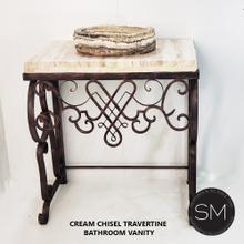 """Travertine Bathroom vanity counter top with organic onyx sink + Hand forged base - 35""""x 22"""" Cream Travertine / Chiseled / Coppertone"""