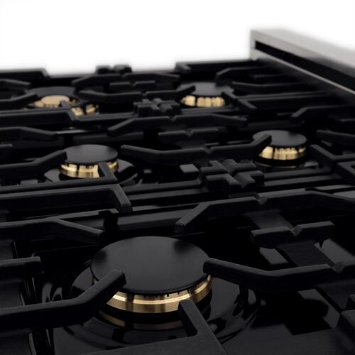 """Zline Kitchen and Bath - ZLINE Autograph Edition 48"""" 6.0 cu. ft. Dual Fuel Range with Gas Stove and Electric Oven in DuraSnow® Stainless Steel with White Matte Door with Accents (RASZ-WM-48) [Color: Matte Black]"""