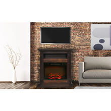 Cambridge Sienna 34 In. Electric Fireplace w/ 1500W Log Insert and Walnut Mantel, CAM3437-1WAL