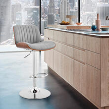 View Product - Brock Adjustable Grey Faux Leather and Walnut Wood with Chrome Finish Bar Stool