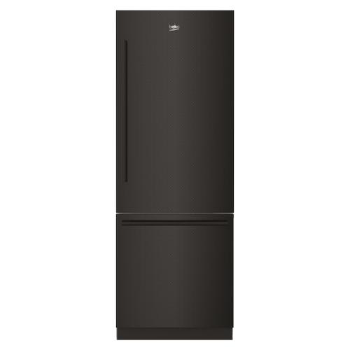 "Beko - 30"" Carbon Fiber Freezer Bottom Built-In Refrigerator with Auto Ice Maker, Water Dispenser"