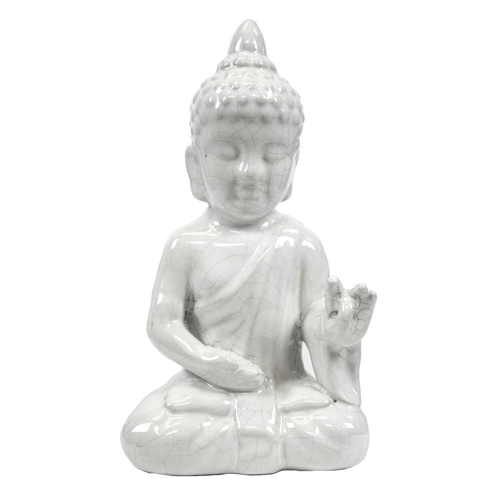 White Ceramic Seated Buddha