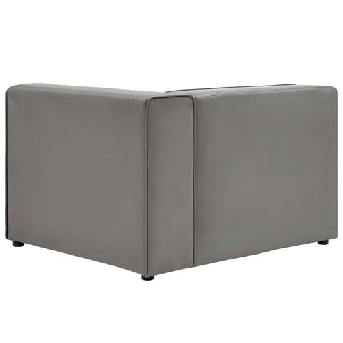 Modway - Mingle Vegan Leather Right-Arm Chair in Gray