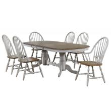 DLU-CG4296-C30AGO7  7 Piece Double Pedestal Extendable Dining Table Set  2 Arm Chairs  Distressed Gray and Brown Wood