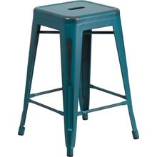 """Commercial Grade 24"""" High Backless Distressed Kelly Blue-Teal Metal Indoor-Outdoor Counter Height Stool"""