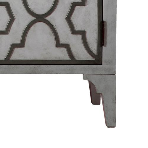 Moroccan Pattern Two Door Accent Chest in Storm Gray