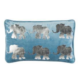 Talin Elephant Pillow - Blue/silver