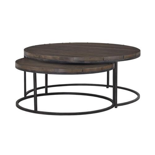 Paddington Round Coffee Tables w/ Planked Top