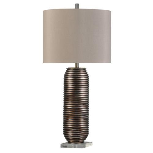 Product Image - Bretta  Transitional Hand Spun Metal and Acrylic Table Lamp  150W  3-Way  Hardback Shade
