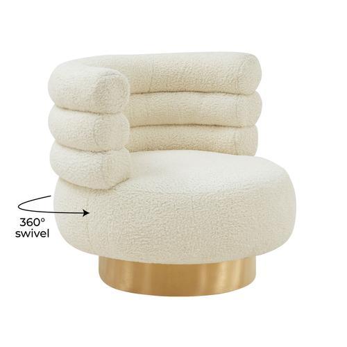 Tov Furniture - Naomi Faux Shearling Swivel Chair