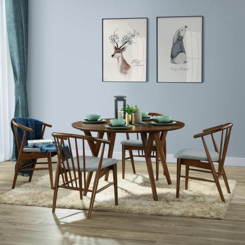 Benjamin KD Round Dining Table, Dark Walnut