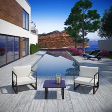 Fortuna 3 Piece Outdoor Patio Sectional Sofa Set in Brown White