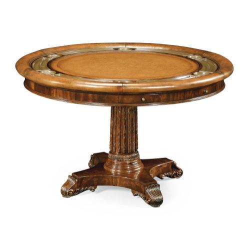 Mahogany round poker table