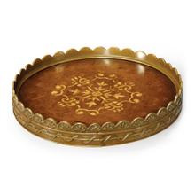 Small Circular Seaweed Marquetry Tray