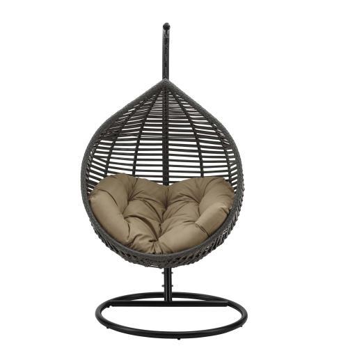 Modway - Garner Teardrop Outdoor Patio Swing Chair in Gray Mocha