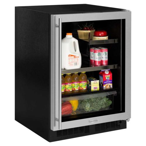 24-In Built In Beverage Refrigerator with Door Style - Stainless Steel Frame Glass, Door Swing - Right