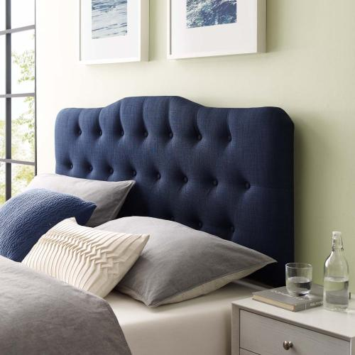 Annabel King Upholstered Fabric Headboard in Navy