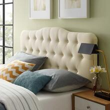 Annabel Full Upholstered Fabric Headboard in Ivory