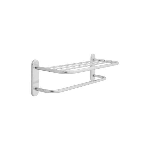 """Chrome 24"""" Brass Towel Shelf with One Bar, Concealed Mounting"""