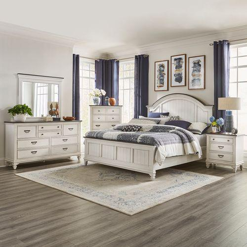 King Arched Panel Bed, Dresser & Mirror, Chest, Night Stand