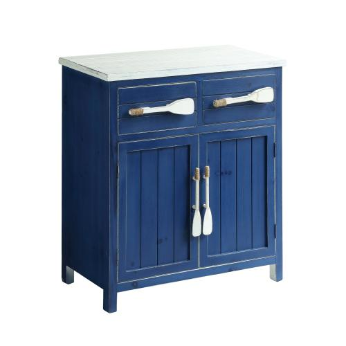 Cape May Azure Blue and White Paddle Cabinet