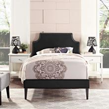 View Product - Corene Twin Vinyl Platform Bed with Squared Tapered Legs in Black