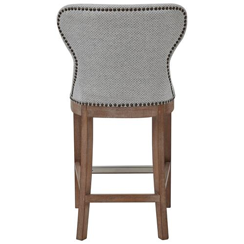 Dorsey Fabric Counter Stool Drift Wood Legs, Cardiff Gray