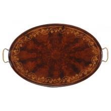 Oval tray with floral inlay (Mahogany)