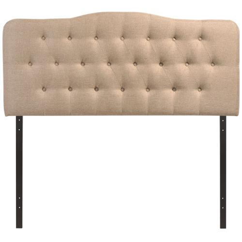 Annabel Full Upholstered Fabric Headboard in Beige
