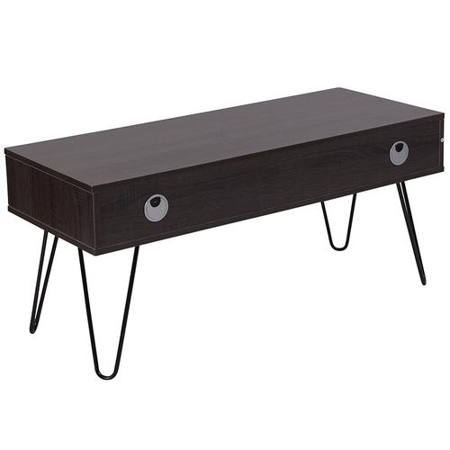 Flash Furniture - Oak Park Collection Driftwood Wood Grain Finish TV Stand with Black Metal Legs