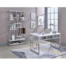 Alize 2-Piece Desk Set, White (Desk & Bookcase)